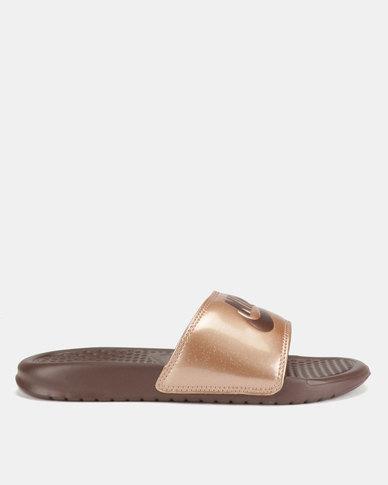 Nike Benassi JDI Print Slides Red Bronze/Mahogany