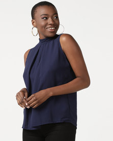 Utopia Sleeveless Georgette Top Navy