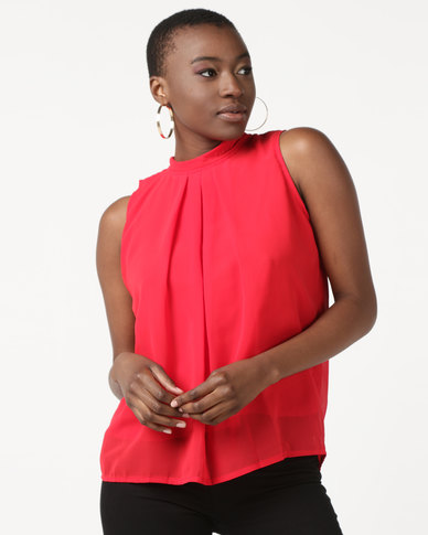 Utopia Sleeveless Georgette Top  Bright Red