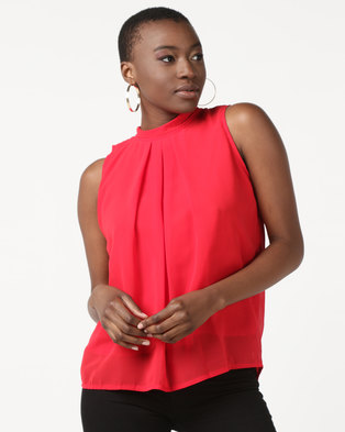 3b590a4212881f Utopia Sleeveless Georgette Top Bright Red