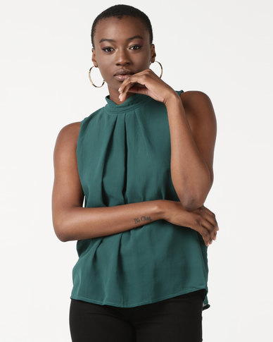 Utopia Sleeveless Georgette Top Emerald Green