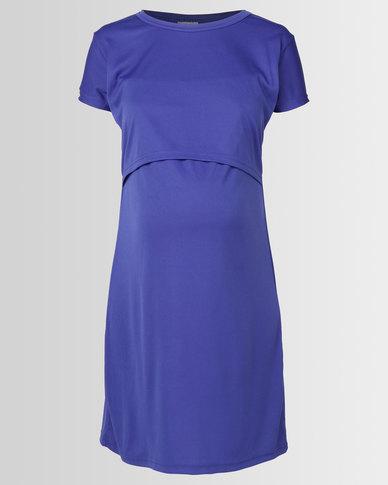 Hannah Grace Blue Body Con Breastfeeding Dress