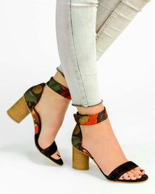 Jeffrey Campbell Purdy Sandals Black Red Floral