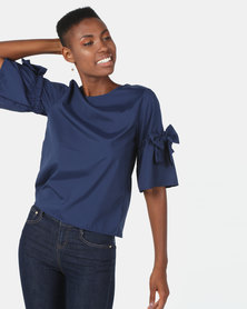 Utopia Top With Bow Trim Navy