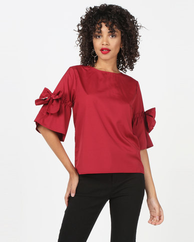 Utopia Top With Bow Trim Burgundy