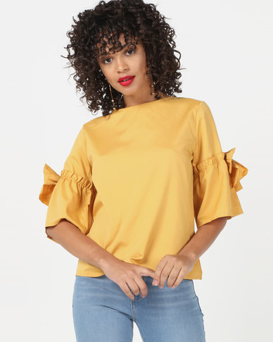Utopia Top With Bow Trim Mustard