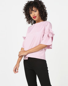 Utopia Top With Bow Trim Pink
