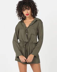 Utopia Viscose Playsuit Olive