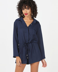 Utopia Viscose Playsuit Navy