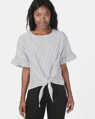 Utopia Striped Tie Front Top Blue/White