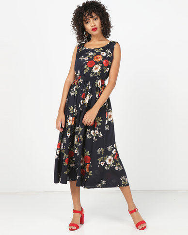 Utopia Floral Flare Dress Navy
