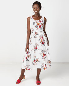 Utopia Floral Flare Dress White