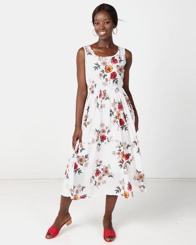 Utopia Floral Flare Dress White