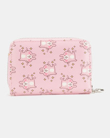 Lily & Rose Pink Happy Cat Print Wallet Pink