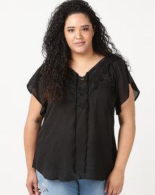 Utopia Plus Georgette Top With Crochet Trim Black
