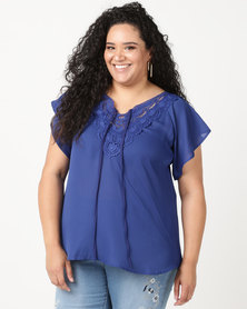 Utopia Plus Top With Crochet Trim Cobalt