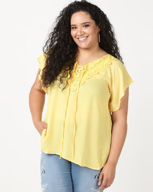 Utopia Plus Top With Crochet Trim Mustard