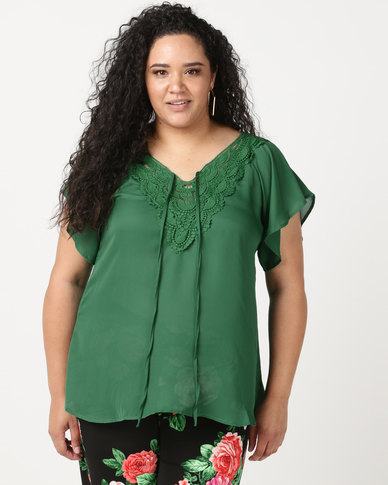 Utopia Plus  Top With Crochet Trim Emerald