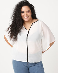 Utopia Plus Georgette Top With Black Tipping White