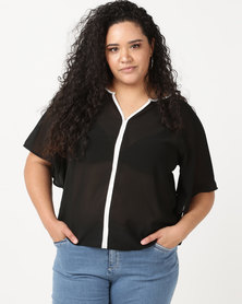 Utopia Plus Georgette Top With White Tipping Black