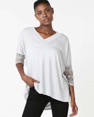 UB Creative Lace Sleeve Detail Jersey Knit Top Grey