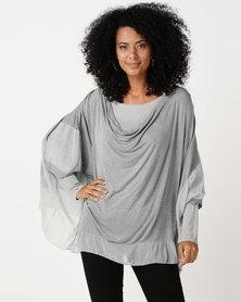 UB Creative Cowl Neck Kaftan With Silk Frill Grey