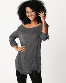 UB Creative Jersey Knit Long With Gathered Detail Charcoal