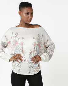 UB Creative Jersey With Flower Print Cream