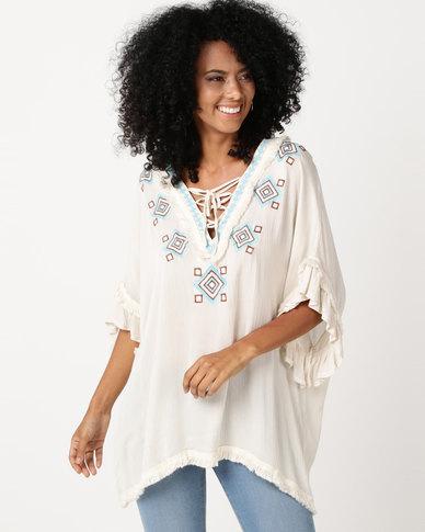 UB Creative Cotton Embroidery Lace-up Kaftan Cream