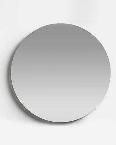 Native Decor Birch Frameless Round Mirror Large Silver