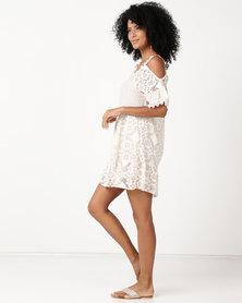 UB Creative Cotton Lace Open Shoulder Dress Cream