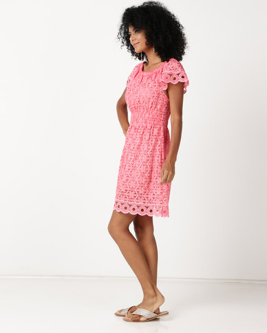 attractive & durable to buy great prices UB Creative Cotton Lace Peasant Dress Coral