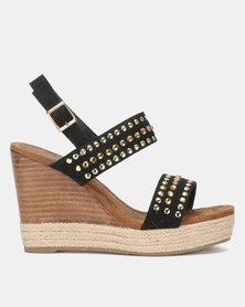Miss Black Vinolia Wedge Sandals Black
