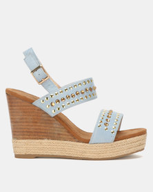 Miss Black Vinolia Wedge Sandals Blue
