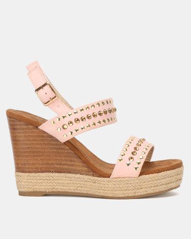 Miss Black Vinolia Wedge Sandals Pink