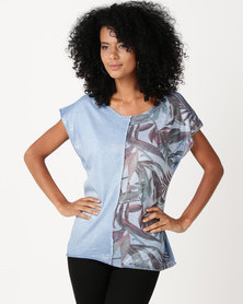 UB Creative Cotton Lycra Panel Top With Silver Lurex Blue