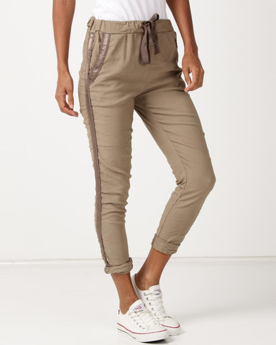 UB Creative Cotton Elastine Pants With Stripe Detail Stone