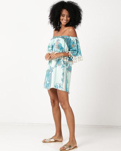UB Creative Frill Peasant Short Dress Blue