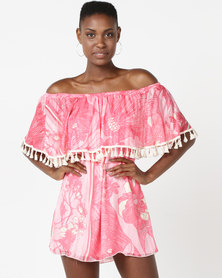 UB Creative Frill Peasant Short Dress Pink
