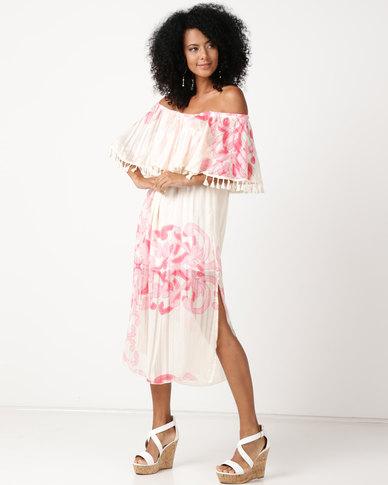 UB Creative Frill Peasant Long Dress Pink