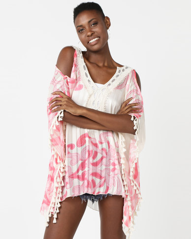 UB Creative Print Kaftan With Embroidery Neckline Pink