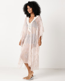 UB Creative Gold Leaf Print Long Kaftan Embroidered Neckline Pink