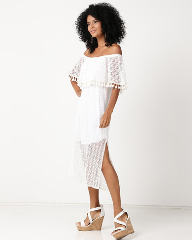UB Creative Lace Peasant Frill Dress White