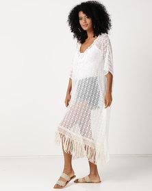 UB Creative Long Lace Kaftan White