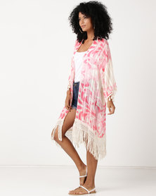 UB Creative Kimono Jackets With Tassels Pink