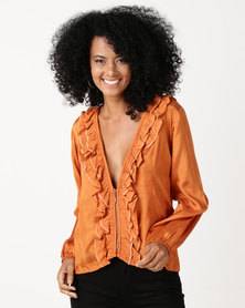 UB Creative Frill Zip Jacket Orange