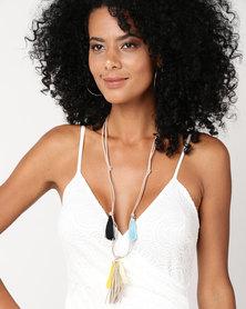 UB Creative Leather Mix Tassle Necklace Multi
