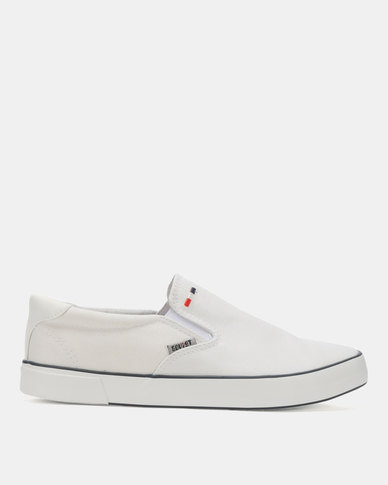 Soviet Clipper Canvas Slip On Sneakers White Mono
