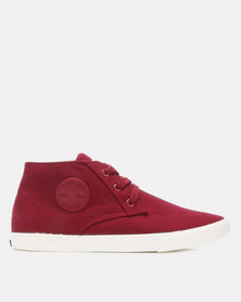 Soviet Galsta Mid Cut Canvas Lace Up Sneakers Bordeaux