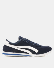Soviet Kendrick PU Low Cut Sneakers Navy/White